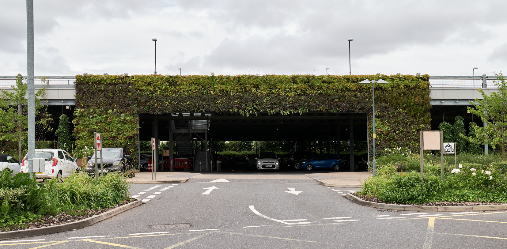 Cheshire Oaks Green Wall Car Park Entrance
