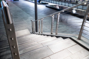 Stainless steel wire rope infill for balustrade at canary wharf station