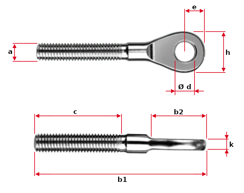 Eye End with External Thread Dimensions